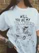 White Short Sleeve Casual Printed T-Shirts