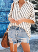 Casual Striped V-neck Buttoned Short Sleeve Blouse