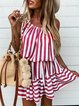 Vintage Striped Plus Size Sleeveless Casual Dresses