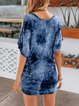 Blue Sexy Ombre/tie-Dye Cotton Dresses