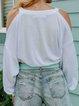 Vintage Plain Plus Size Long Sleeve Casual Tops