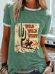 Green Round Neck Holiday Patchwork Cotton-Blend Shirts & Tops