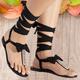 Bowknot Flip-flops  Rhinestone Lace-Up Gladiator Sandals