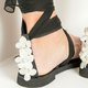 Pearl Silk Fabric Plus Size Lace Up Lace Sandals