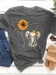 Round Neck Cotton-Blend Short Sleeve Shirts & Tops