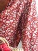 Boho Floral-Print V Neck Floral Shirts & Tops