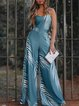 Blue Floral Holiday Spaghetti-Strap V Neck Jumpsuits