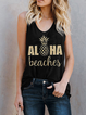 Casual Letter Sleeveless Shirts & Tops