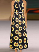 Floral Printed Holiday Sleeveless Halter Midi Dress
