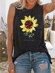 Casual summer loose sleeveless sunflower print T-shirt