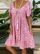 Pink Patchwork Printed Cotton-Blend Short Sleeve Dresses