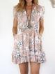Plus size Short Sleeve Floral Printed Dresses