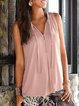 Pink Sleeveless V Neck Casual Shirts & Tops