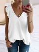 Casual V Neck Solid Cotton-Blend Shirts & Tops