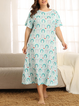 As Picture Crew Neck Floral-Print Shift Short Sleeve Sleepwear & Loungewear