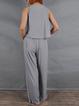 Gray Sleeveless Linen V Neck Sleepwear & Loungewear
