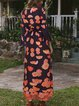 Crew Neck Floral Printed Half Sleeve Dresses