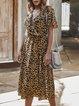 Khaki Leopard Short Sleeve Dresses