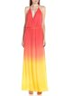 Summer leisure vacation gradient boho backless sexy dress