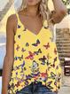 Floral Printed V-neck Sleeveless Holiday Vest