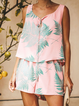 Printed Casual Chiffon Sleeveless Suits