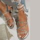 Women's  Summer Leather Peep Toe Sweet  Flat Heel Sandals