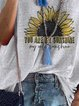 Summer simple casual sunflower print T-shirt