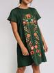 Green Crew Neck Short Sleeve Floral-Print Floral Dresses