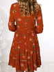 As Picture Crew Neck Casual Floral-Print Dresses