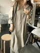 Long Sleeve Solid Casual Buttoned Dresses