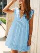 Guipure Lace V Neck Shift Holiday Mini Dress