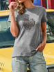 Plus size Leopard Printed Short Sleeve Shirts & Tops