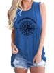Casual Sleeveless Crew Neck Printed Vests