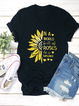 Casual Round Neck Sunshine Flower Printed Tee Shirts Tops