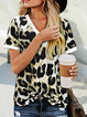 Leopard-Print Short Sleeve Casual Knot Front T-shirt