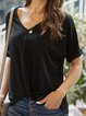 Casual Plain V-Neck Half Sleeve T-shirt
