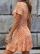 Orange V Neck Floral Printed Holiday Dresses