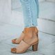 Women's Daily Summer Vintage Peep Toe Block Heel Slippers