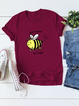 Casual Printed Short Sleeve Crew Neck Shirts & Tops