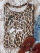 Leopard Printed Crew Neck Short Sleeve T-Shirts