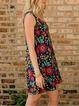 Floral Printed Round Neck Mini Dress