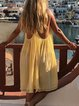 Light Yellow V Neck Casual Cotton-Blend Dresses