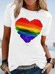 Plus Size Cotton-Blend Short Sleeve Geometric Casual Shirts & Tops