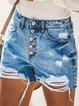 Light Blue Casual Denim Pants