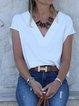 White Cotton V Neck Plain Shirts & Tops