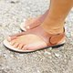 Women Thong Sandald Summer Casual Leather Magic Tape Flat Heel Shoes