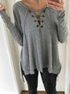 Lace-Up Casual Long Sleeve Cotton Shirts & Tops