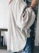 Light Gray Plain Cotton Long Sleeve V Neck Shirts & Tops