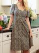 Women Floral Caftan Pockets Buttoned Shift Midi Dresses