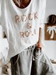 White Casual Letter Long Sleeve Round Neck Shirts & Tops